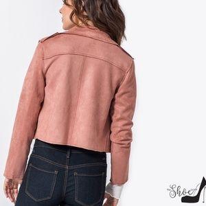 HYFVE Jackets & Coats - Scuba Suede Moto Jacket in Mauve Pink